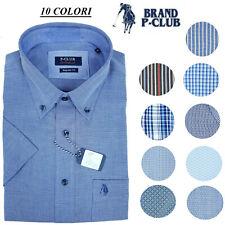 Camicia da Uomo Manica Corta in Puro Cotone Taschino a Fantasia B/D Mezza Manica