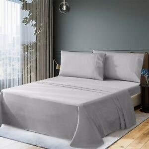 500TC 100% Combed Cotton Flat Fitted Bed Sheet Set Single/Double/Queen/King Size