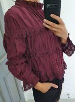 Topshop maroon long sleeve 100% cotton blouse top size UK 8