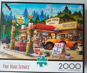 "Pine Road Service Gas Station 2000 Piece Jigsaw Puzzle Buffalo 38.5"" X 26.5"""