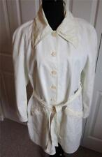 FENDI CREAM OFF WHITE TRENCH RAINCOAT WITH LEATHER TRIM SZ 46IT 12US LENGTH 40""