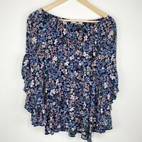Fever Navy Blue Floral Ruffle Bell Sleeve Blouse Womens Size Small S