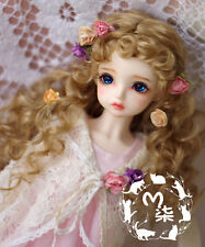 "New 7-8"" Sweet Milk Tea Brown Long Curly Wig For 1/4 LUTS-KID,MSD,DOC,BJD Wig"