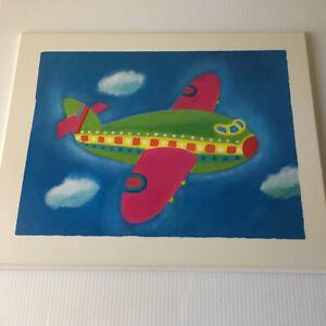Kids Airplane Decor Nursery Art White Wood Wall Plane Airplane Childs Rm 20 x 16