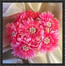 Qualité soie gerbera fleur avec jeweled centre rose chaud bouquet/bande de 7