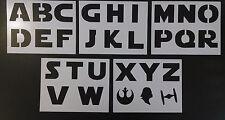 "Star Wars Font Alphabet 3"" Tall Letters 8.5"" x 11"" 5 Stencil Set FREE SHIPPING"