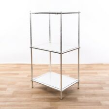 CONTEMPORARY SILVER LEAF METAL GLASS SHELVING UNIT DISPLAY STAND (CMT034)