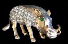Vintage RHINESTONE WARTHOG~Wild Pig~ Pumbaa FIGURAL PIN/Brooch,FJT