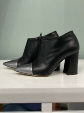 Fauzian Jeunesse  Made In Italy Leather Black Ankle Booties Sz 37