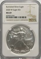2020 W $1 NGC MS69 BURNISHED SILVER AMERICAN EAGLE .999 FINE SILVER BROWN LABEL
