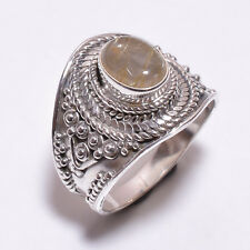 925 Sterling Silver Ring Size UK N 1/2, Golden Rutile Handcrafted Jewelry CR3352
