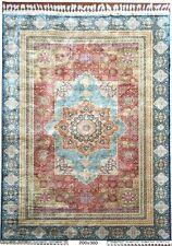 7' X 10' Silk Red - Royal Blue Rug Turkic Egyptian Mamluk Design Handmade Rug