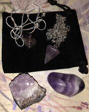 Job Lot Collection Set of Amethyst Pieces Cluster Geode Dowsing Pendulum Crystal