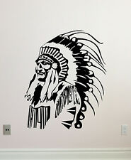 Native American Wall Decal Feather Indian Chief Vinyl Sticker Decor Mural 327xxx