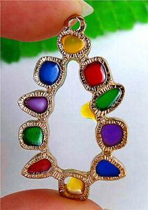 41x25x2mm Alloy Insert Colourful Crystal Irregular Pendant Bead AP24059
