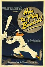 How to play baseball Goofy Disney cult Movie cartoon poster print