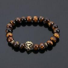 DF4 Natural Lava Stone Beads Brown & Gold Lion Head Stretch Bracelet