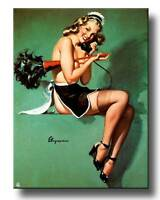 Retro Pinup Girl QUALITY CANVAS PRINT A4 Vintage  Poster Gil Elvgren maid phone