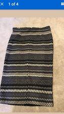 Womens Black Chevron Textured High Waist Knee Length Split Front Skirt Size 10