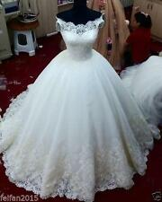 New White/Ivory Lace Wedding Dresses Chapel Train Bridal Ball Gown Custom Size