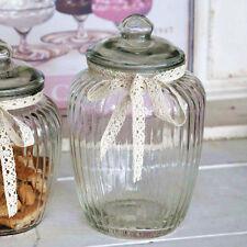 Chic Antique Aufbewahrungsglas Dose Glas Bonboniere Rillen Chic Nostalgie