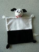 *- Doudou plat chien 101 dalmatiens  DISNEY NICOTOY  noir et blanc collier rouge