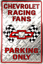 """Chevrolet Racing Fans Parking Only Black/Red 8"""" x 12"""" Metal Novelty Sign"""