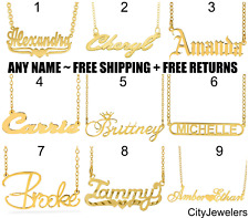 Peronalized Any Name Plate Pendant + Necklace Chain 18K Gold 925 Sterling Silver