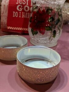 Bath Body Works White Sparkling Glitter 3 Wick Candle Holder/ Dish