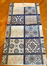 "Indigo Blue & White Patchwork & Filigree 90"" Cotton Table Runner"