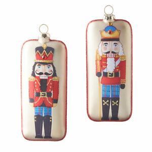 "RAZ Imports 6"" Nutcracker Ornaments Set/2 Glass Christmas NEW 4024565"