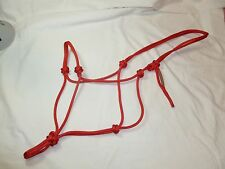 "1/4"" Soft Polyester Rope Horse Halter-Red-Average Horse Size"