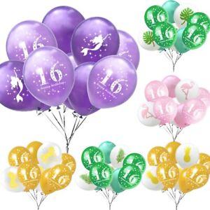 Gold Purple 16th Birthday Latex Balloon Unicorn Mermaid Flamingo Party Decor