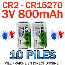 LOT DE 10 PILE ACCU BATTERIE CR2 LITHIUM (CR15270) 3V 800mAh EUNICELL CR2 CR-2