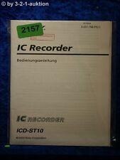 Sony Bedienungsanleitung ICD ST10 IC Recorder (#2157)