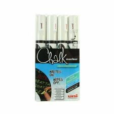 4 x Uni-Ball Chalk Marker Window Glass marker White PWE-5M in Handy Wallet