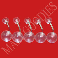 W009 Clear Acrylic Belly Naval Rings Barbell LOT of 5 Retainer Invisible Lot 5