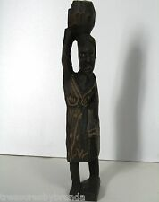 Primitive Wooden African Figurine Figure Sculpture Woman w/Basket on Head Wooden
