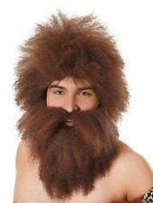 Caveman Wig & Beard Set Brown Fancy Dress Mens Halloween P6845