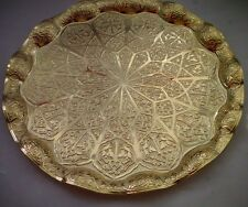 TURKISH ZAMAK TRAY VINTAGE, GOLD COLOR, ROUND,Ottoman Figures