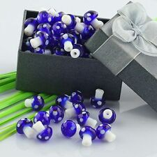 Wholesale 100pcs High Fashion Navy Blue Bulk Mushroom Lampwork Glass Beads