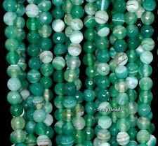 """6MM EMERALD GREEN AGATE GEMSTONE GREEN SWIRL FACETED ROUND 6MM LOOSE BEADS 15"""""""