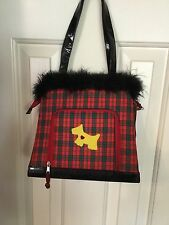 Cute Girls Red, Yellow And Green Plaid Handbag With Doggie Appliqué