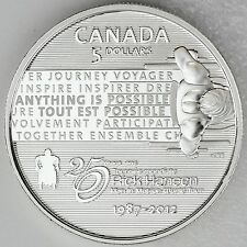 Canada 2012 $5 Rick Hansen Man in Motion Pure Silver Uncirculated Proof Coin