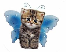 Munchkin Brown Gray Kitten Cat w/ Blue Wings Decal-Wings By Keith Kimberlin