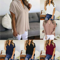 Women Ladies Summer Chiffon V-Neck Tops Short Sleeve Casual Blouse T-Shirt S-5XL