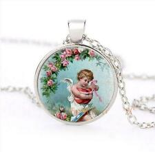 Vintage Fashion Jewellery Women's Cute Cherub Flowers Cabochon Silver Necklace