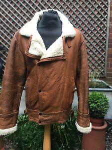 Vintage brown leather & faux fur Flying Flight Bomber Casual jacket men's L