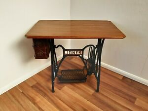 Jones Cast Iron Treadle Base Sewing Machine Table With 2 Drawers.