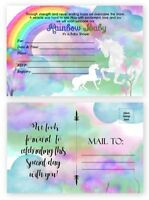 Rainbow Baby Shower Invitations Miracle Unicorn Watercolor 20 count Postcards